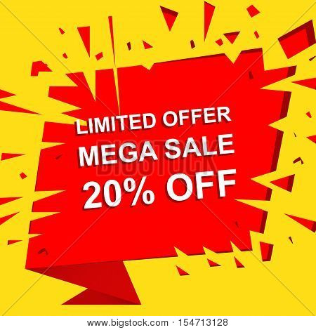 Big sale poster with LIMITED OFFER MEGA SALE 20 PERCENT OFF text. Advertising boom and red  banner template