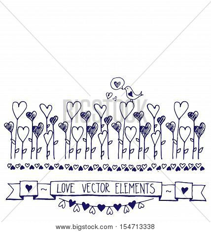 Hand Drawn vector vintage illustration - Doodle sketch hearts elements. Card with the contours of the doodle hearts. Valentine's day greeting cards. Hand drawn vector illustration. Romantic sketch with ribbons, hearts