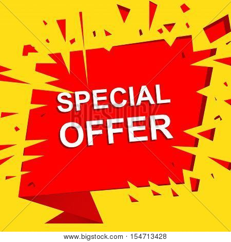 Big sale poster with SPECIAL OFFER SALE text. Advertising yellow and red  banner template