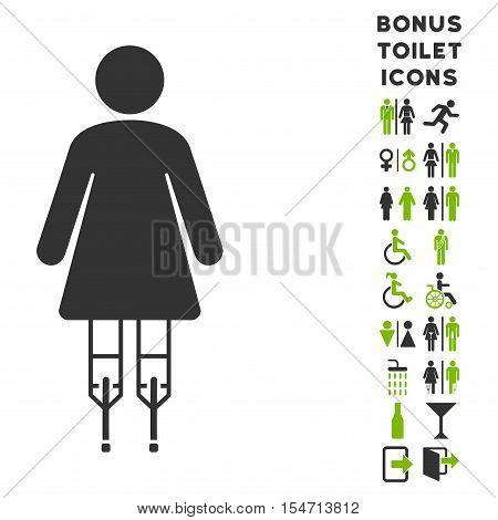 Woman Crutches icon and bonus gentleman and female toilet symbols. Vector illustration style is flat iconic bicolor symbols, eco green and gray colors, white background.