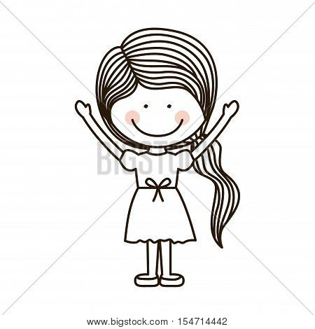 silhouette girl with open arms and ponytail vector illustration
