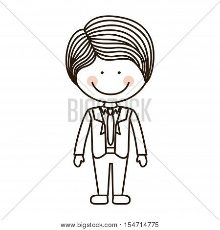 silhouette boy with formal suit and tie vector illustration