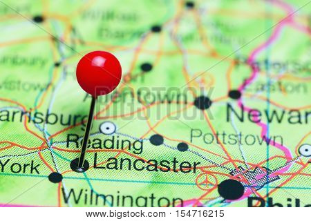 Lancaster pinned on a map of Pennsylvania, USA
