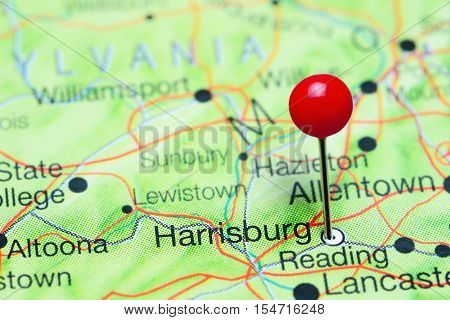 Harrisburg pinned on a map of Pennsylvania, USA