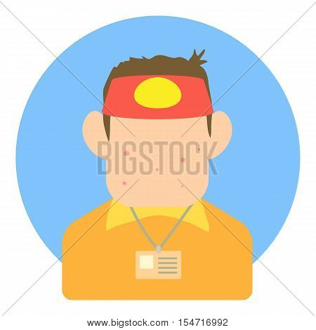 Avatar teen seller icon. Flat illustration of avatar teen seller vector icon for web