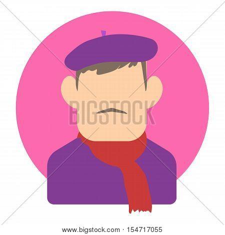 Avatar man painter icon. Flat illustration of avatar man painter vector icon for web