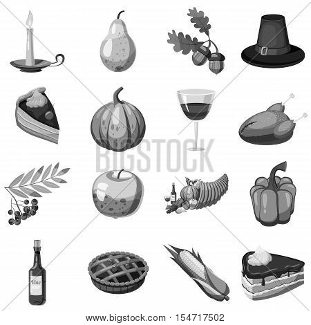 Thanksgiving icons set. Gray monochrome illustration of 16 Thanksgiving vector icons for web