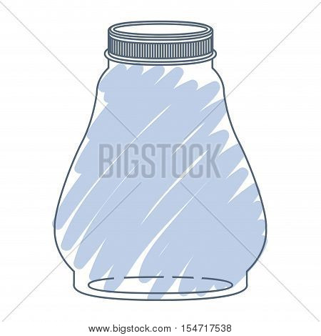 silhouette glass container with blue stripes vector illustration