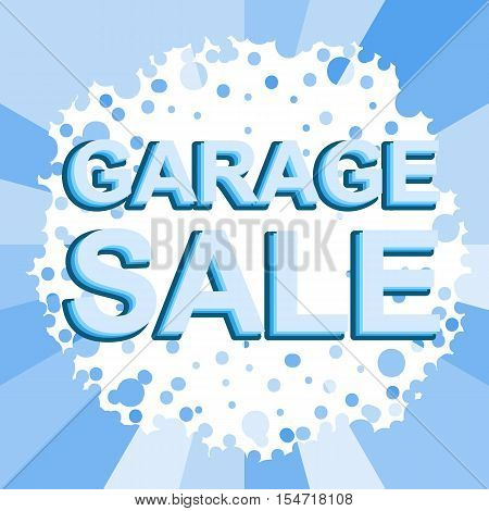 Big winter sale poster with GARAGE SALE text. Advertising blue  banner template