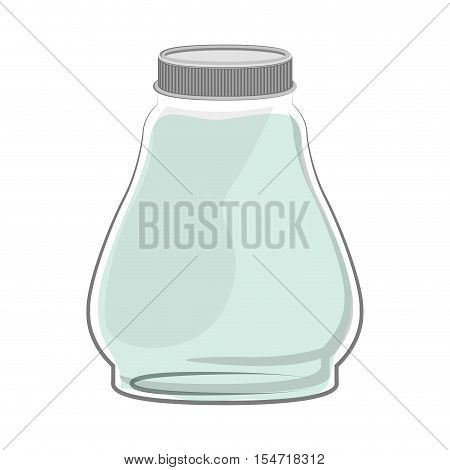 silhouette glass container with green liquid vector illustration
