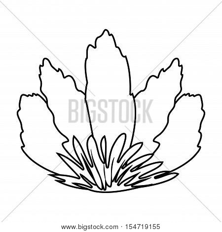 silhouette front view flower with sepal vector illustration