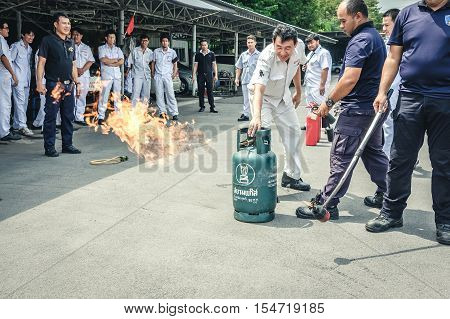 Basic Fire Fighting And Evacuation Fire Drill Training On October 26 , 2016 In Bangkok, Thailand