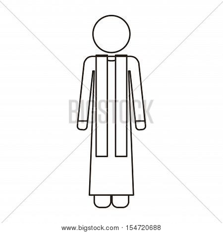 priest or reverend man with christian catholic religious icons over white background. vector illustration