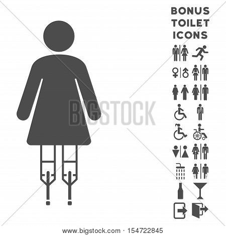 Woman Crutches icon and bonus male and lady lavatory symbols. Vector illustration style is flat iconic symbols, gray color, white background.
