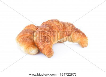 whole fresh croissant on a white background