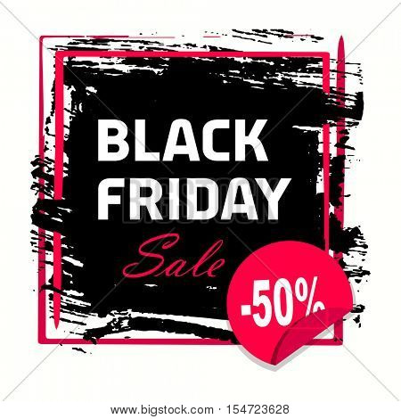 grunge abstract black friday banner. Black Friday sale inscription design template. Black Friday banner. Vector illustration. Grunge banner with an inky dribble strip with copy space