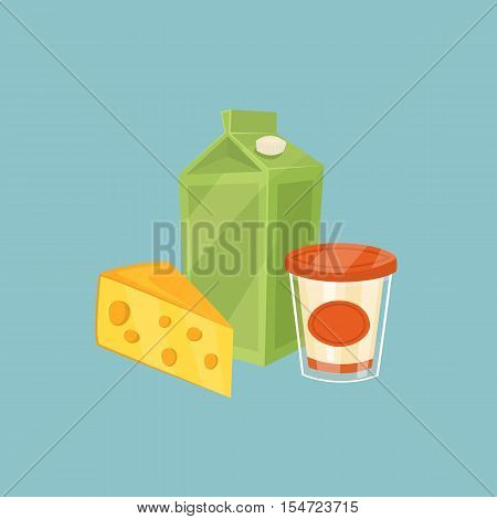Cheese and other dairy products isolated on blue background, vector illustration. Nutritious and healthy milk products. Natural and healthy food. Organic farmers products. Dairy icon.