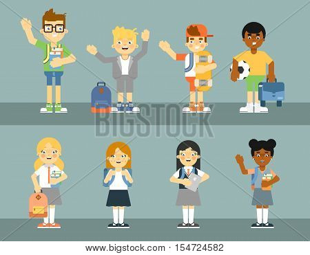School pupil with backpack isolated vector illustration. Schoolboy and schoolgirl in uniform, elementary school kids with textbooks and sport equipment. Happy smart and friendly child in flat design
