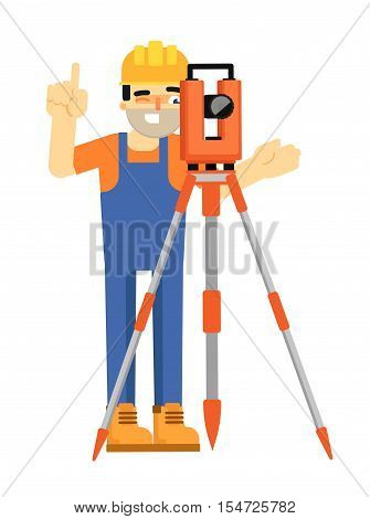 Worker builder in uniform and helmet with geodetic device isolated on white background vector illustration. Geodesist character in flat design. Survey instrument. Topography in construction