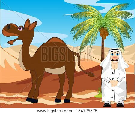 Landscape to hot desert and men of the arab with camel