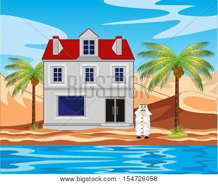 The House in desert ashore epidemic deathes.Vector illustration