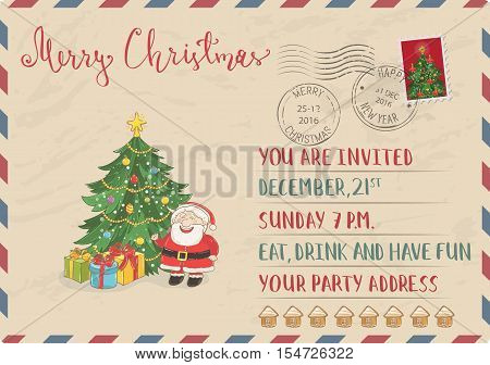 Vintage Christmas Postcard with postal stamps. Santa, wrapped gifts, decorated christmas tree cartoon vector. Invitation on holiday party. Merry Christmas and Happy New Year greeting card. Xmas letter