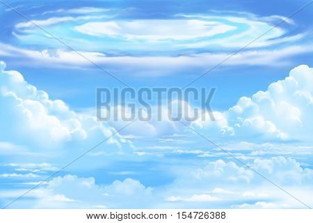 Fantastic and Exotic Environment: The White Clouds Sea with Swirling. Video Game's Digital CG Artwork, Concept Illustration, Realistic Cartoon Style Background