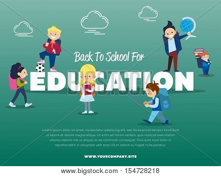 Back to school for education banner with pupils vector illustration. Happy kids with backpack and school supplies - globe, books, laptop. Elementary education. Cute school children. School activities