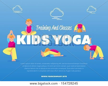 Training and classes kids yoga vector illustration. Young boy doing yoga relaxation exercise. Gymnastics for children. Sport, fitness, healthy lifestyle concept. Children stretching and meditation
