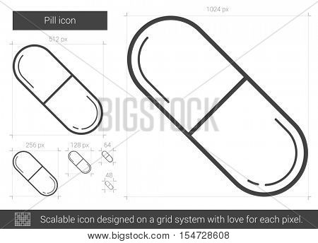 Pill vector line icon isolated on white background. Pill line icon for infographic, website or app. Scalable icon designed on a grid system.