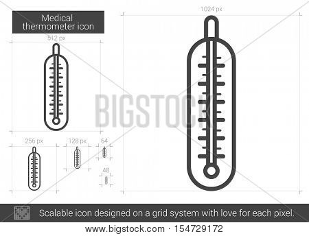 Medical thermometer vector line icon isolated on white background. Medical thermometer line icon for infographic, website or app. Scalable icon designed on a grid system.