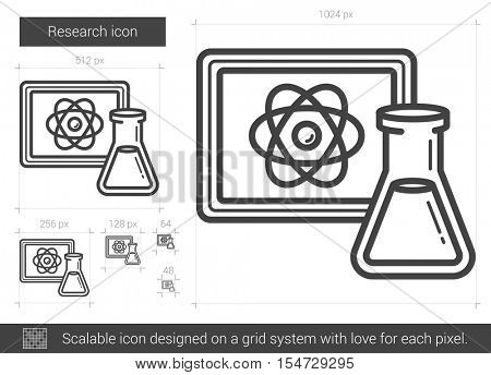 Research vector line icon isolated on white background. Research line icon for infographic, website or app. Scalable icon designed on a grid system.