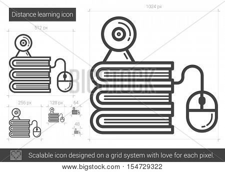 Distance learning vector line icon isolated on white background. Distance learning line icon for infographic, website or app. Scalable icon designed on a grid system.