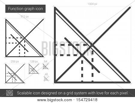 Function graph vector line icon isolated on white background. Function graph line icon for infographic, website or app. Scalable icon designed on a grid system.
