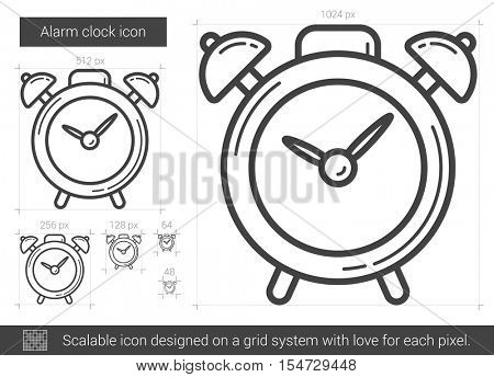 Alarm clock vector line icon isolated on white background. Alarm clock line icon for infographic, website or app. Scalable icon designed on a grid system.