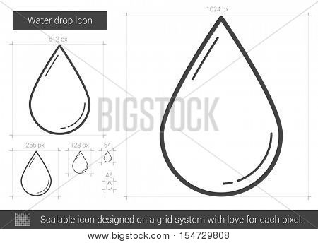 Water drop vector line icon isolated on white background. Water drop line icon for infographic, website or app. Scalable icon designed on a grid system.