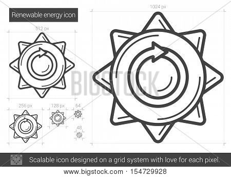 Renewable energy vector line icon isolated on white background. Renewable energy line icon for infographic, website or app. Scalable icon designed on a grid system.