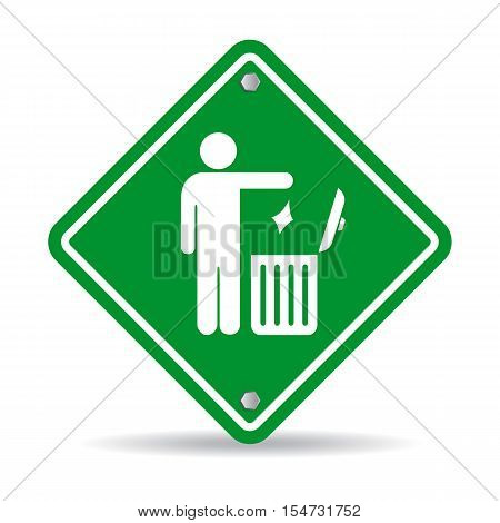 No littering green rhombus sign vector illustration isolated on white background