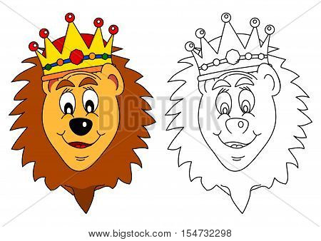 King of beasts crown - lion as a coloring book for young children - vector
