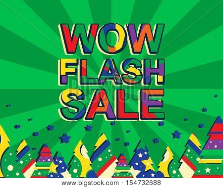 Big Winter Sale Poster With Wow Flash Sale Text. Advertising Banner