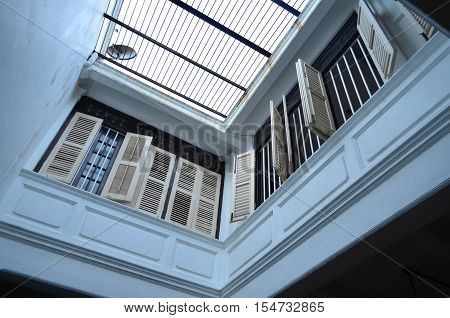 White airy terrace on the second floor