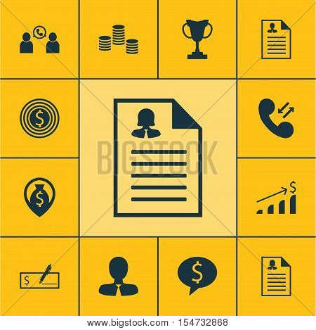 Set Of Management Icons On Money Navigation, Business Goal And Cellular Data Topics. Editable Vector
