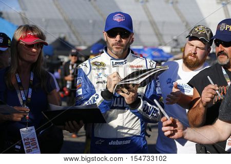 Martinsville, VA - Oct 28, 2016: Jimmie Johnson (48) gets ready to qualify for the Goody's Fast Relief 500 at Martinsville Speedway in Martinsville, VA.