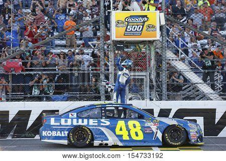 Martinsville, VA - Oct 30, 2016: Jimmie Johnson (48) wins the Goody's Fast Relief 500 at Martinsville Speedway in Martinsville, VA.