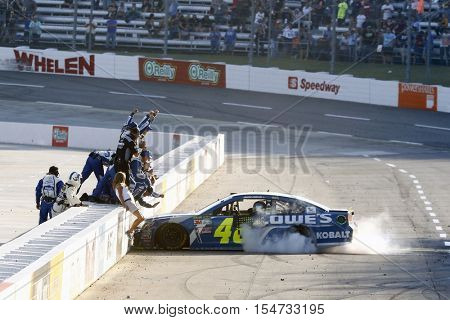 Martinsville, VA - Oct 30, 2016: Jimmie Johnson (48) wins the Goody's Fast Relief 500 at the Martinsville Speedway in Martinsville, VA.