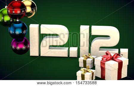 12 12 date calendar gift box christmas tree balls 3d illustration rendering