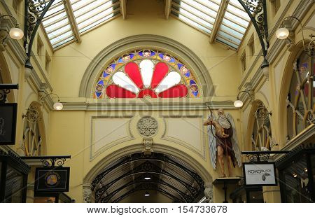 MELBOURNE, AUSTRALIA - JANUARY 24, 2016: The figure of Father Time at Royal Arcade in Melbourne. The arcade was originally constructed in 1869.