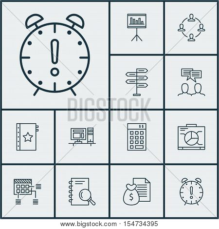 Set Of Project Management Icons On Investment, Time Management And Computer Topics. Editable Vector