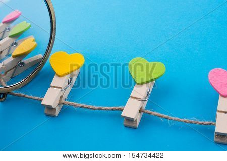 Colorful Clothespins Attached  On A Line