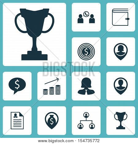 Set Of Management Icons On Employee Location, Pin Employee And Business Deal Topics. Editable Vector